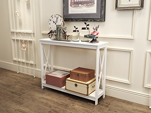 White Finish 3-Tier X-Design Occasional Console Sofa Table Bookshelf (Sofa Table Book Shelf)