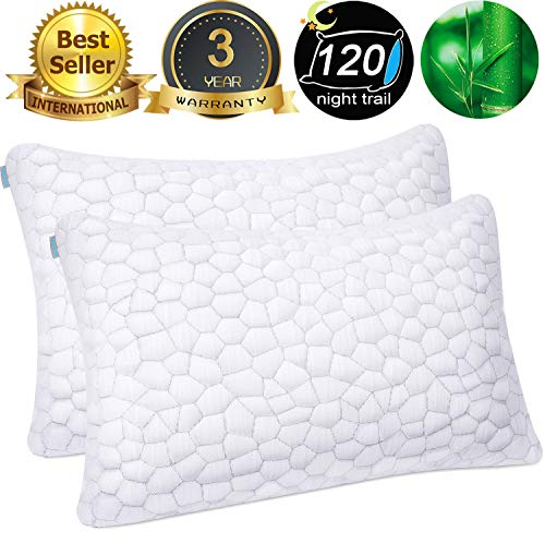 Bamboo Pillow Cool Bed Pillows for Sleeping 2 Pack Adjustable Gel Shredded Memory Foam Pillow with Bamboo Pillow Cover Hypoallergenic - Premium Adjustable Loft - Queen Sleeping Pillow 2 Pack (Cool Bamboo)