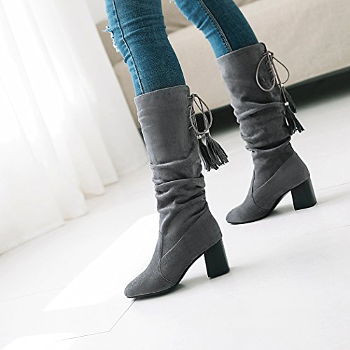 wetkiss Fashion Women mid Calf Boots high Thick Heels Autumn Winter Boots Lady Shoes Gray eFaA3i1O