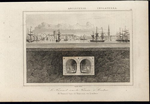 Thames Tunnel Sailboats Anchored London England 1844 antique engraved print