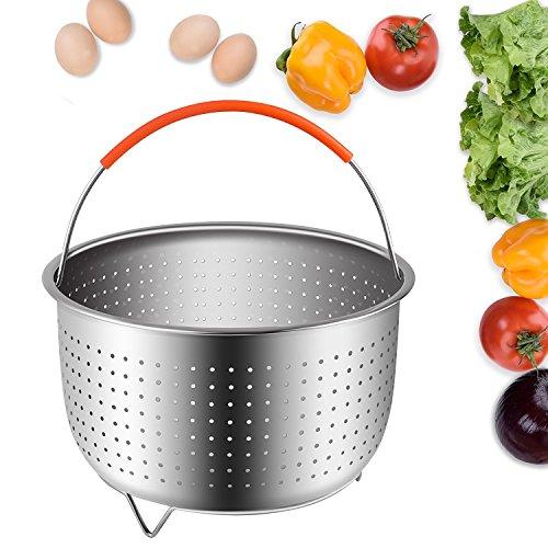 BetterLife88 Vegetable Steamer Basket, Instant Pot Accessories 6 qt or 8 qt Steamer Basket, Fits InstaPot Pressure Cooker, Stainless Steel Instant Pot Steamer Basket w/Silicone Handle