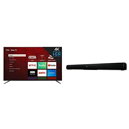 TCL 75S425 75 Inch 4K UHD Smart Roku TV (2019) and TCL Alto 5 2 0 Channel  Home Theater Sound Bar - TS5000