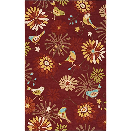 Exotic Hand Hooked Floral Patterned Area Rug, Earthy Bold Flowers Cheery Birds Themed, Rectangle Indoor Outdoor Hallway Doorway Living Area Bedroom Carpet, Nature Lovers Design, Burgundy Size 2' x (Flowers Hand Hooked Rug)