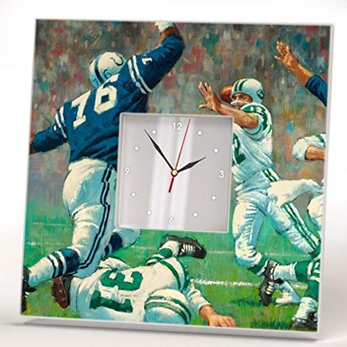 - Football Players Wall Clock Mirror Retro American Sport Theme Fan Art Print Novelty Room Decor Gift