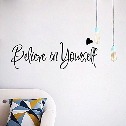 AmazingWall 8x22 Believe in Yourself Wall Sticker Quote Inspiration Letters Office Living Room Bedroom Peel and Stick
