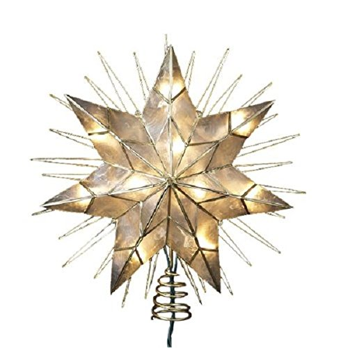 Kurt Adler 14'' 7-Point Natural Capiz Star Lighted Treetop