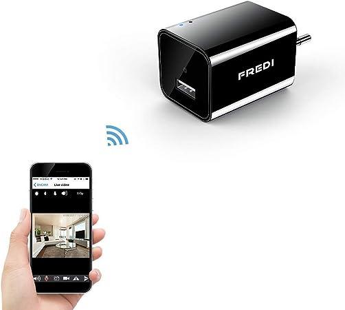FREDI Mini caméra espion IP WiFi HD 1080P Chargeur USB