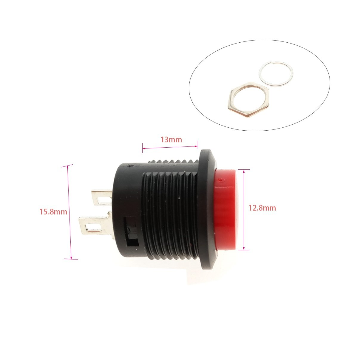 SPST NO Momentary Push Button Switch 2 Terminals AC 6Amp//125V 3Amp//250V Mini Red Cap 5-Pack