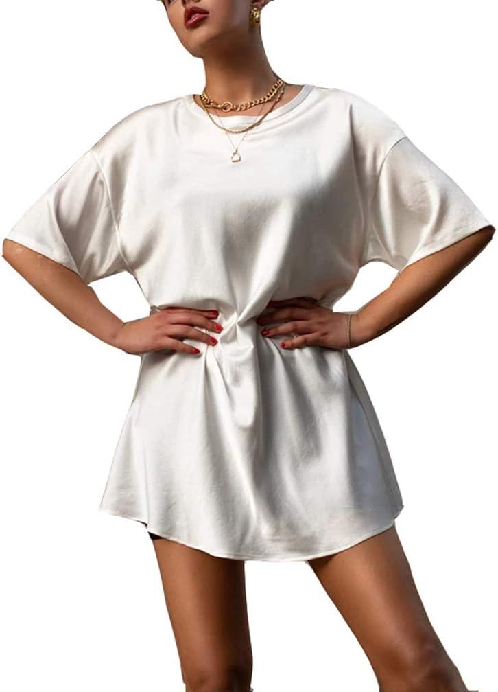 STZB Été Solide Soie T-Shirt Robe Femmes De Base Lâche Mini Robe Femmes À Manches Courtes Casual Noir Blanc Tops Femme Doux blue