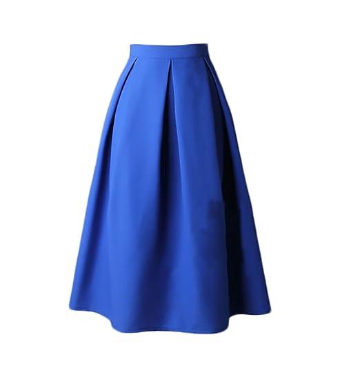 Faldas Mujer Elegantes Cintura Alta Falda Plisada Años 50 A-Line ...
