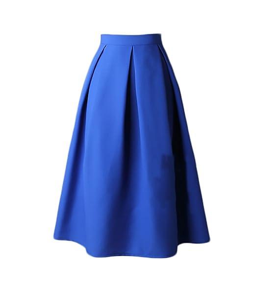 Faldas Mujer Elegantes Cintura Alta Falda Plisada Años 50 A-Line Vintage Moda Color Solido Faldas Midi Falda Medium Largos Retro Ropa Para Adolescentes: ...
