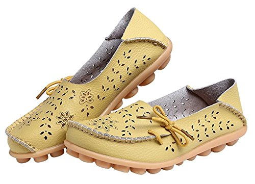 Fangsto Women's Floral Leather Slipper Loafer Flats Shoes Slip-ONS Sty-2 Celery