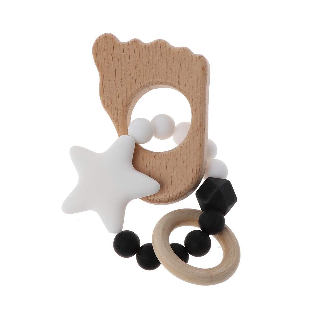 Anneau Dentition Hochet Montessori B/éb/é Teether Pendentif DIY Bracelet Bijoux Jouets Sensoriels Cadeau Yanhonin Jouet De B/éb/é Perles De Silicone