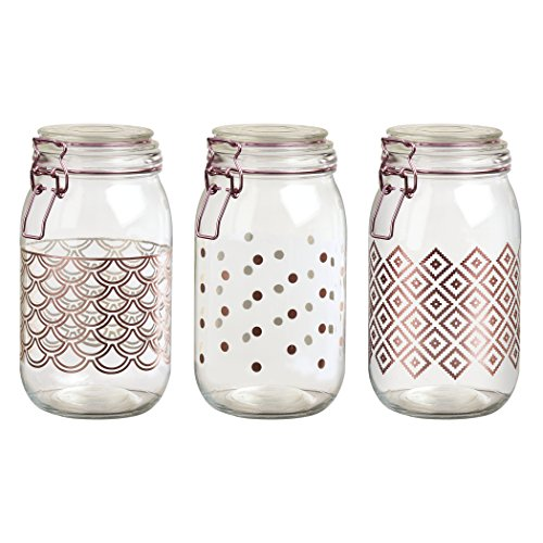 - Amici Home, 7CN133AS3R, Pasadena Rose Gold Collection, Milan Extra Large Hermetic Preserving Glass Canisters, Food Safe, Polka Dot, Scallop and Ikat Designed Assorted Set of 3, 50 Ounces