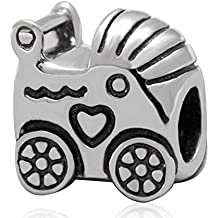 Choruslove Mother Day Gift Baby Carriage Love Charm Antique 925 Sterling Silver Bead