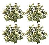 FOUR 15'' Magnolia Leaf Artificial Bushes w/Berries