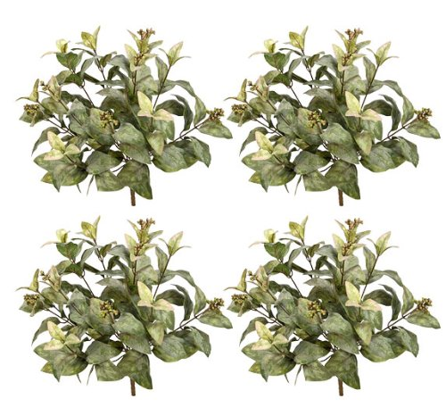 FOUR 15'' Magnolia Leaf Artificial Bushes w/Berries by Arcadia Silk Plantation