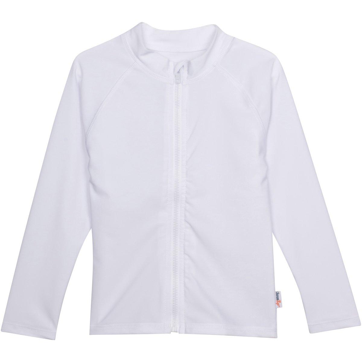 SwimZip Little Boys' Long Sleeve Rashguard Zipper UPF 50+,White,2T