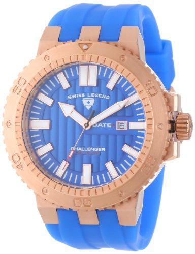 Swiss Legend Men's 10126-RG-03 Challenger Blue Textured Dial Blue Silicone Watch