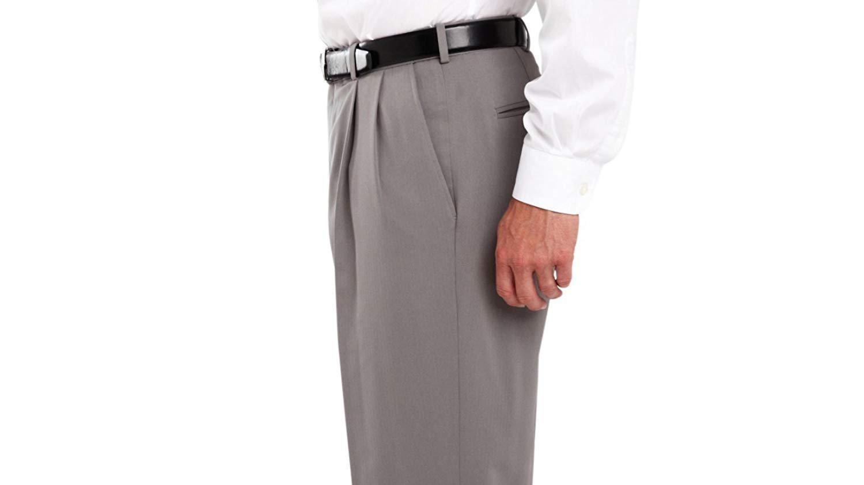 Haggar Men's eCLo Stria Expandable-Waist Pleat-Front Dress Pant HD00219