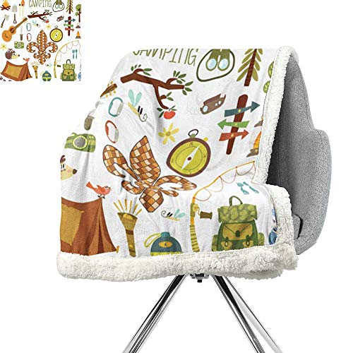 Fleur de Lis Light Thermal Blanket,Camping Equipments Boy Scout Campfire Symbol Fishing Lure Fancy Decorations Lake,Brown Mustard Green White,Warm Breathable Comforter for Girls Kids Adults
