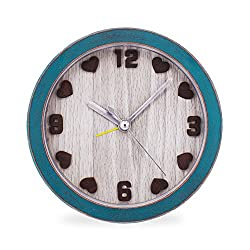 Slash Classic Style Vintage Retro Old Fashioned Wood Grain Quiet Non-ticking Sweep Second Hand, Quartz Analog Clock,Battery Operated, Loud Alarm, 3D Heart Numerals (Green Case - Brown Hearts) S10062