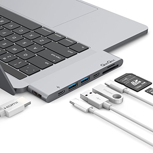 USB C Hub, QacQoc Thunderbolt 3 Adapter Compatible with MacBook Pro 2016/2017 13 15 40Gbs Thunderbolt 3,Type C Data Port,4K HDMI, SD/Micro Card Reader 2 USB 3.0 Ports (Gray)