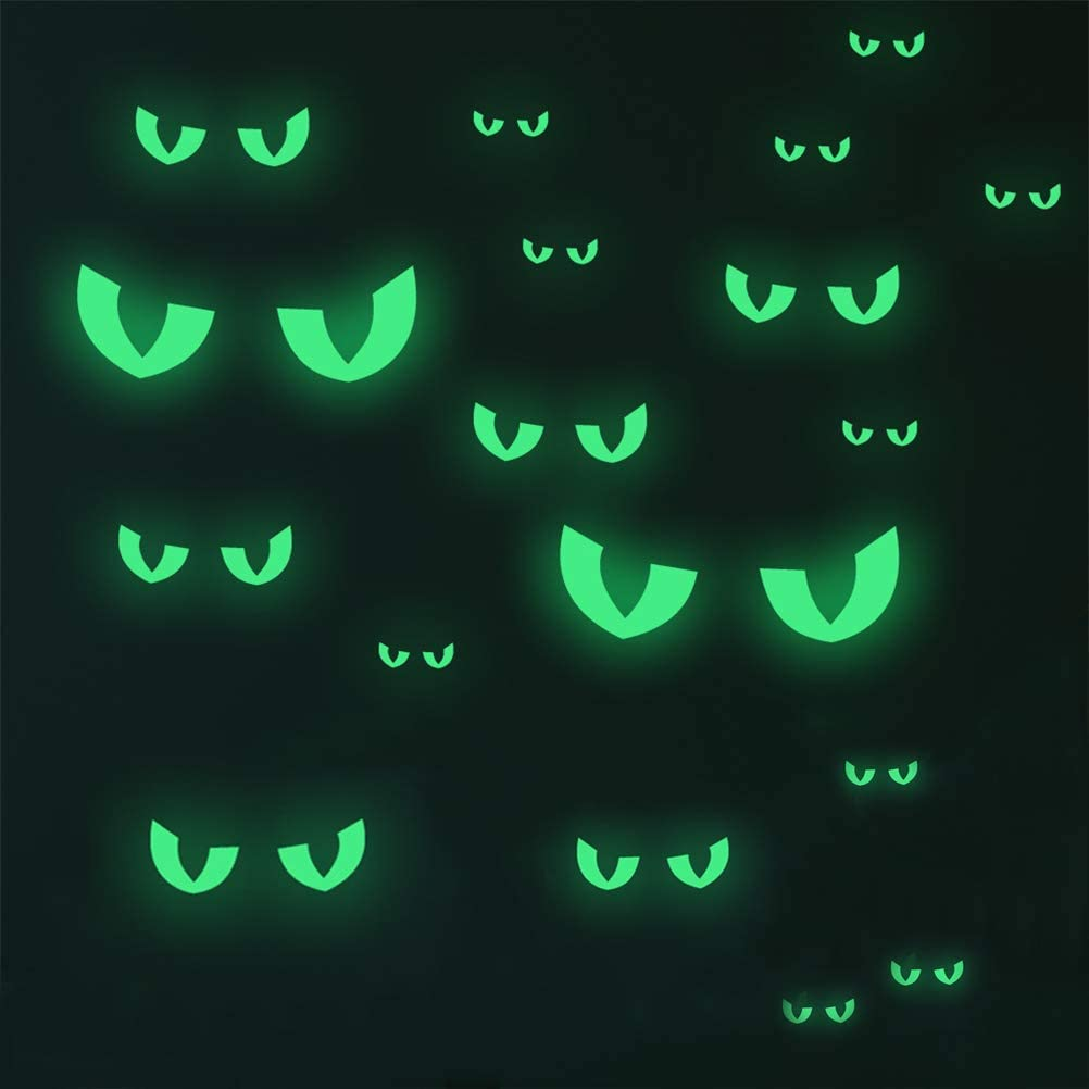 TIMESETL 48 Pack Halloween Glow Stickers Evil Eyes, Halloween Luminous Stickers Glow in The Dark Stickers, Luminous Fluorescent Sticker Halloween Wall Decals Removable
