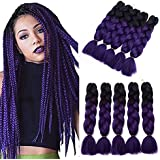 YXCHERISHAIR 24inch 5Packs/Lot Kanekalon Xpression Braiding Ombre Purple Hair for Women and Girls Crochet Braids,100G Synthetic Yaki Jumbo Braiding Hair Extensions (24 inch 5 packs, T1B/PURPLE)