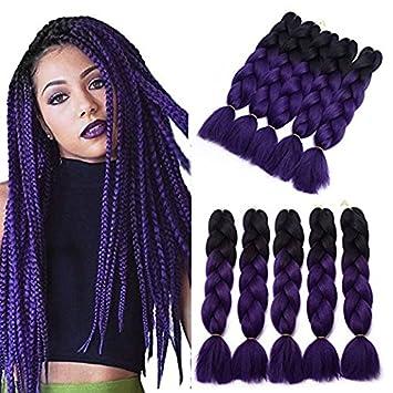 YXCHERISHAIR 24inch 5Packs/Lot Kanekalon Xpression Braiding Ombre Purple  Hair for Women...