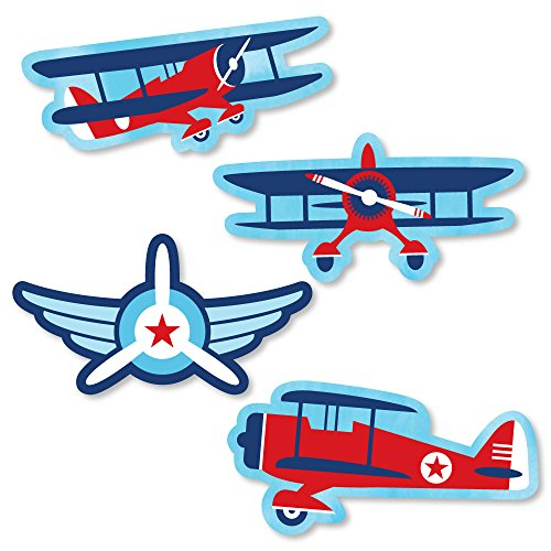 Big Dot of Happiness Taking Flight - Airplane - Shaped Vintage Plane Baby Shower or Birthday Party Cut-Outs - 24 Count