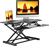 ONKRON Standing Desk Sit Stand Workstation with Keyboard Tray and Monitor Mount up to 33 lbs W33D Black