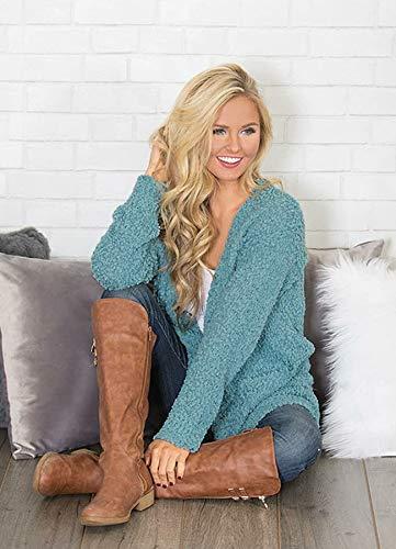 Ru Sweet Women's Long Sleeve Soft Chunky Knit Sweater Open Front Cardigan Outwear with Pockets Blue