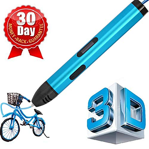 7TECH 3D Printing Pen with Non-Toxic ABS Filaments 3D Drawing Printing Pen Clearly OLCD Display 3D Pen for Kids Adults(Blue)