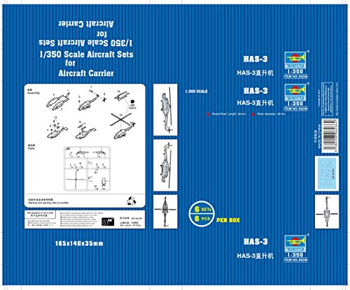 Trumpeter HAS-3 Helicopter Set (6/Bx) (1/350 Scale) 1 6 Scale Helicopter