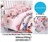 Lemontree Butterfly Bedding Set- Girls Soft Bedding Collection-Pink Green Brown Blue Black Butterflies Floral Patterns,Hypoallergenic,Microfiber -1 Duvet Cover Set + 1 Bed Sheet + 2 Pillowcases