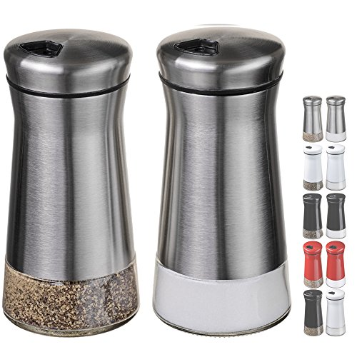 CHEFVANTAGE Salt and Pepper Shakers Set with Adjustable Holes - Stainless Steel (Stainless Condiment Steel Shakers)