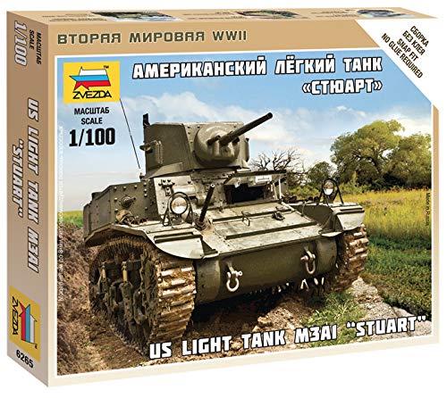Zvezda 1//100 Us Light Tank M3A1 Stuart # 6265 Plastic Model Kit