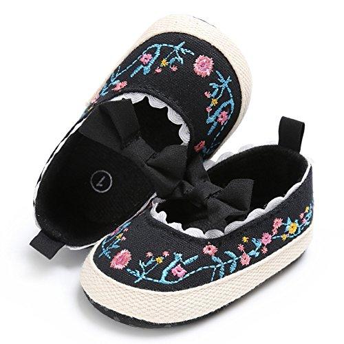 BOBORA Bebe Ninas Princesa Zapatos Primeros Zapatos Caminar Prewalker Bordado negro