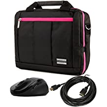 "3 in 1 Magenta Messenger Laptop Bag & Wireless USB Mouse & 15' HDMI Cable for HP Laptops 13""-14"""