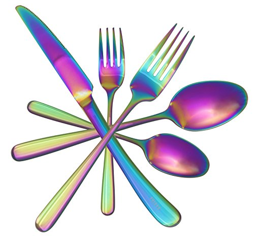 Stainless 4 Dinner Knives (Beautiful Unique Rainbow Flatware Set by Kadina | Iridescent Silverware Sets | 20 Piece Silverware Set | Stainless Steel Utensils For 4 People | Tableware with Dessert Fork, Dinner Knife, Spoon, Fork)