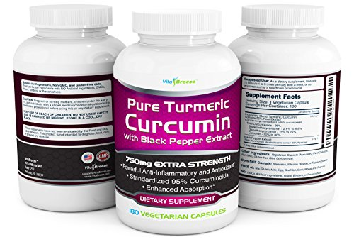 Turmeric Curcumin Complex with Black Pepper Extract 750mg per Capsule, 180 Veg. Caps Contains Piperine (For Superior Absorption and Tumeric Bio availability) and 95% Standardized Curcuminoids