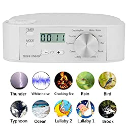 three sheep White Noise Machine 10 Nature Sound, Soothing Sound Machine for Sleeping, 10 Levels of Volume,Timer Function, Clock, Power by AA Batteries or Plug in(No Alarm Clock)