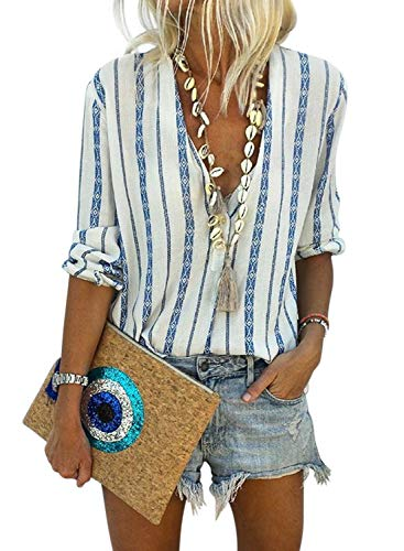 (Astylish Women Casual Deep V Neck Button Down Stripe Print Long Sleeves Work Shirt Blouse Tops Small 4 6 Sky Blue)