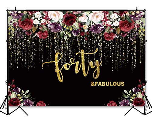 Funnytree 7x5ft Flowers Gold 40th Birthday Party Backdrop Adult Lady Golden Glitter Photography Background Forty Years Old Age Floral Women Cake Table Decorations Banner Photo Booth Props
