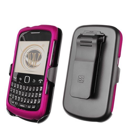 Magenta Protector Case Shield (Beyond 3-In-1 Combo Kit Snap On Cover with Holster and Screen Guard Package for BlackBerry Curve 9360 - Non-Retail Packaging - Magenta/Black)