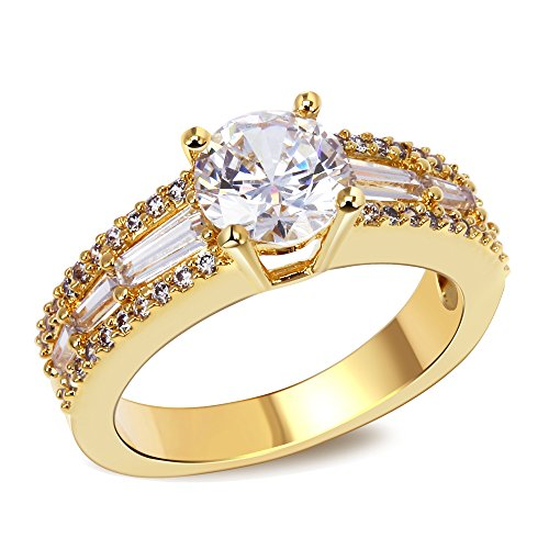 PSRINGS Engagement ring gold plated with Cubic zirconia luxury Rings tungsten ring lord of rings women jewelry 7.0 (Mini The Of Lord Film Rings Cell)