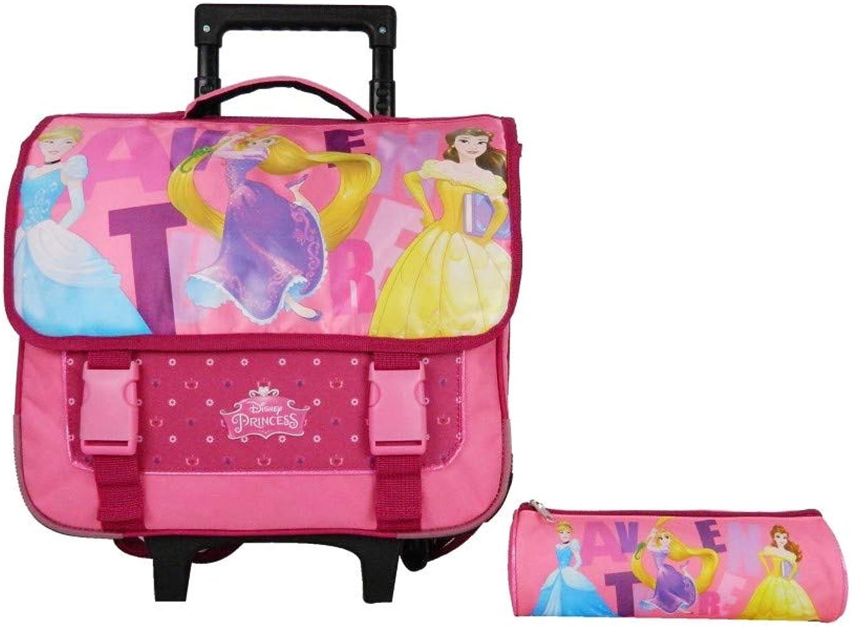 Mochila con ruedas de 38 cm + estuche de princesas rosa Disney: Amazon.es: Ropa y accesorios