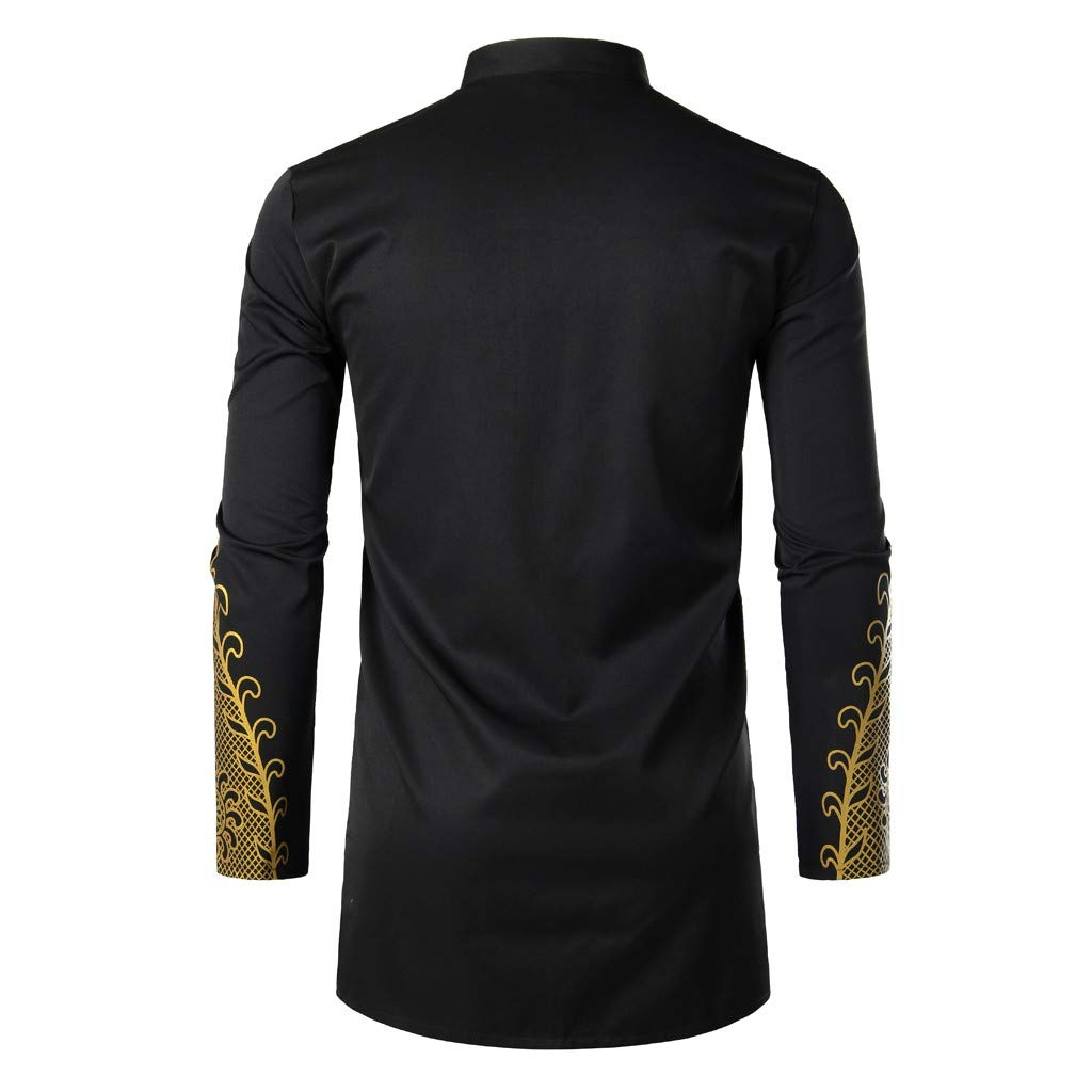 Mens African Dashiki Shirt Metallic Floral Printed Slim Fit Long Sleeve T-Shirts Traditional Ethnic Blouse by sweetnice man clothing (Image #4)