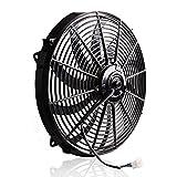 "16"" High Performance Black Electric Radiator Cooling Fan Assembly Kit 3000CFM Pro-Cool Reversible Heavy Duty S-brade Engine Fan Mounting Set"